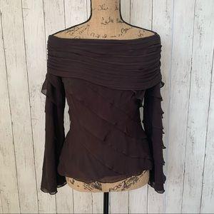 Tadashi Brown Silk Tiered Off Shoulder Top Sz 6